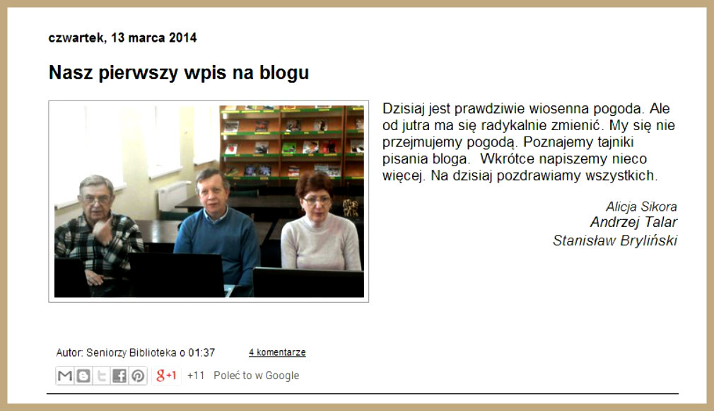 Przeglądasz zdjęcia z artykułu: Wspólne blogowanie 11.03.2014