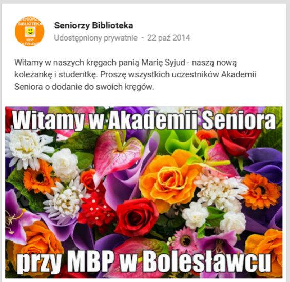 """Przeglądasz zdjęcia z artykułu: Nowi studenci Akademii Seniora w """"strumieniu"""" – październik, listopad 2014"""
